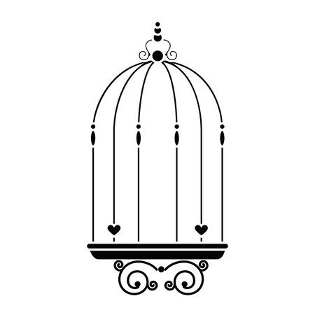 白い背景上のビンテージ鳥かごアイコン
