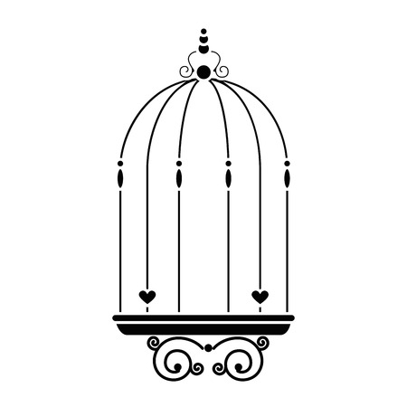 Vintage birdcage icon over white background Ilustração