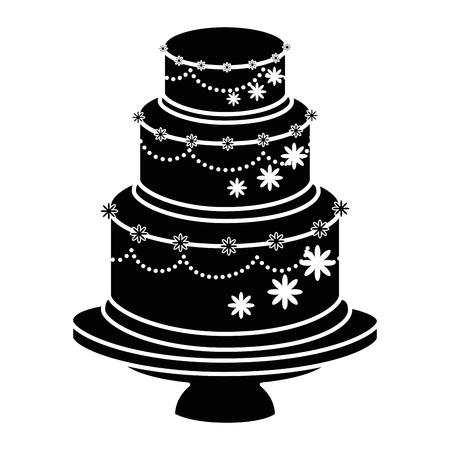 Hochzeitstorte Symbol auf weißem Hintergrund Vektor-Illustration Standard-Bild - 84919451