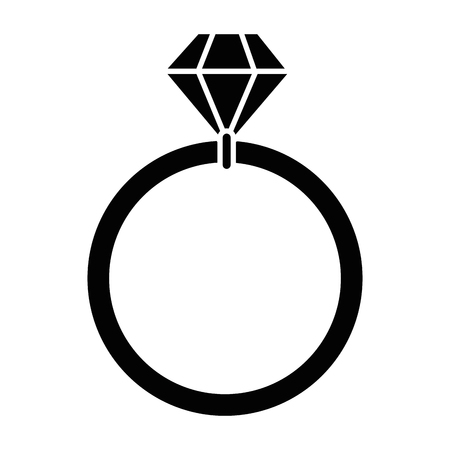 Diamond ring icon over white background Illustration
