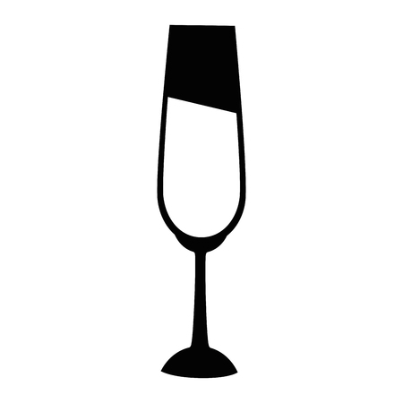 Champagne glass icon over white background Illustration