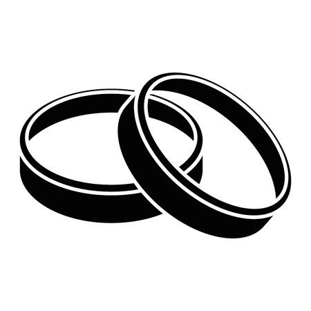 icona delle fedi nuziali sopra l'illustrazione bianca di vettore del fondo Vettoriali