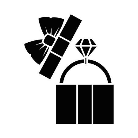 흰색 배경 벡터 일러스트 레이 션 위에 다이아몬드 반지 아이콘으로 선물 상자
