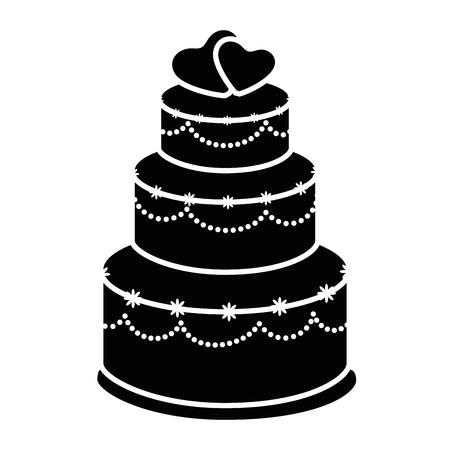 Hochzeitstorte Symbol auf weißem Hintergrund Vektor-Illustration Standard-Bild - 84891986