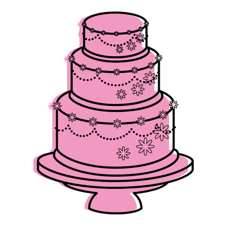 wedding cake icon over white background vector illustration