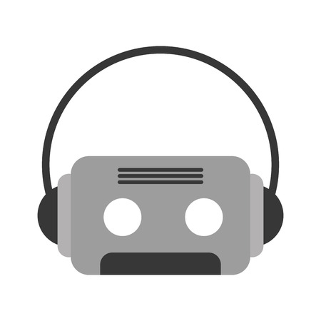 retro cassette with earphones vector illustration design
