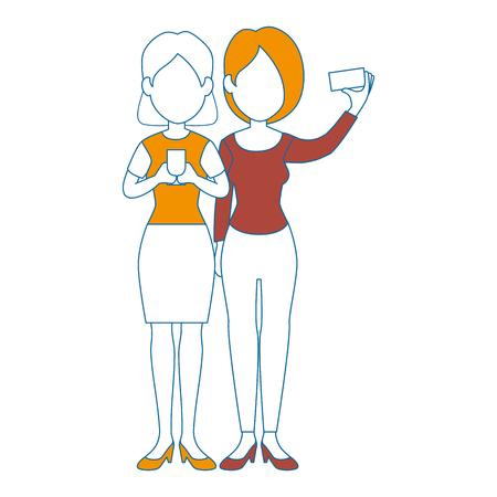 modern business: People using smartphone character vector illustration design