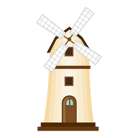 Windmill building isolated icon vector illustration design