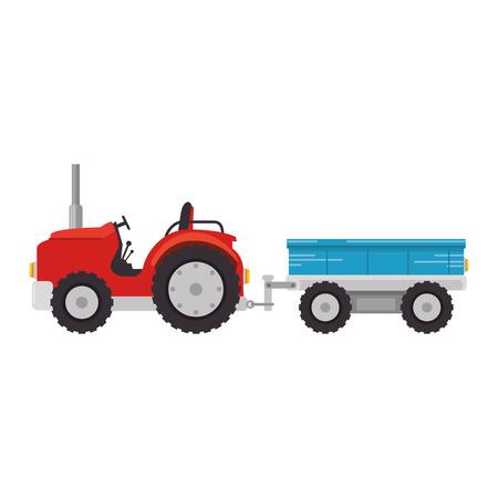Tractor de granja con diseño del ejemplo del vector del carro Foto de archivo - 84973478