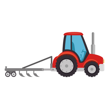 Farm tractor with rake vector illustration design Illustration