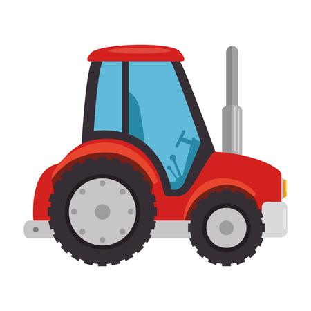 Diseño aislado del ejemplo del vector del icono del tractor de granja Foto de archivo - 84973479