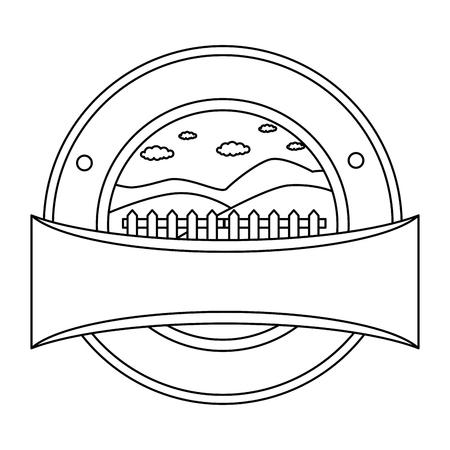 木製フェンス シール スタンプ ベクトル イラスト デザイン