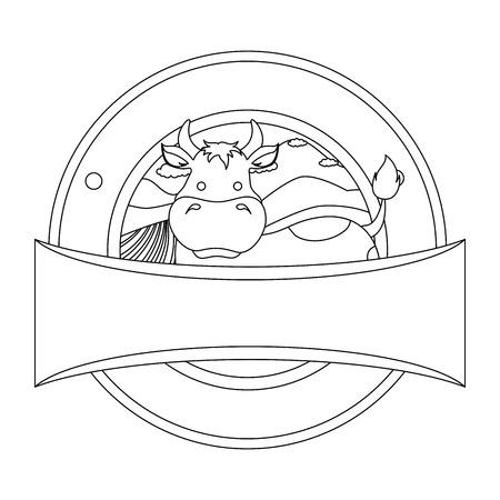 Farm cow seal stamp vector illustration design