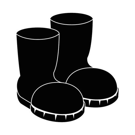 ファーム ブーツ分離アイコン ベクトル イラスト デザイン  イラスト・ベクター素材
