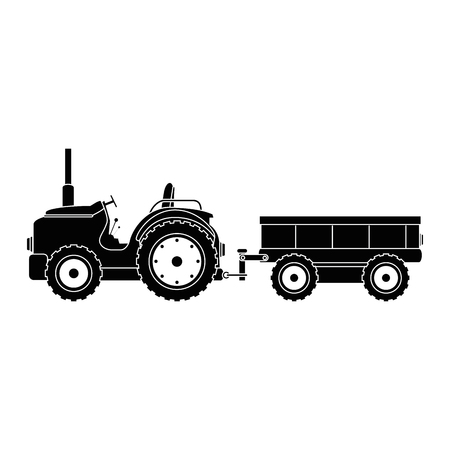 Farm tractor with carriage vector illustration design