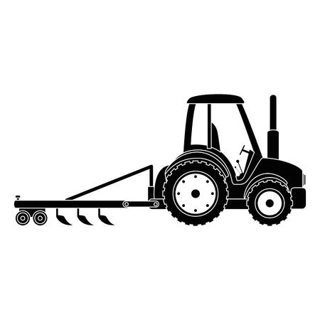 Tracteur agricole avec râteau illustration vectorielle conception Banque d'images - 84983200