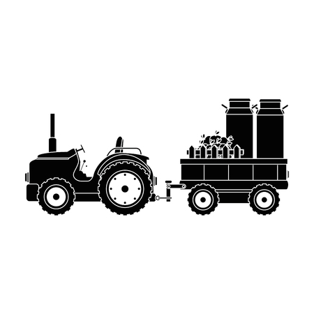 Farm tractor with carriage transport milk and apples vector illustration design