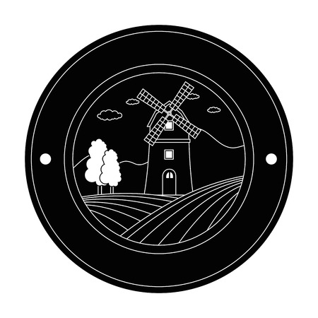 windmill building isolated icon vector illustration design Illustration