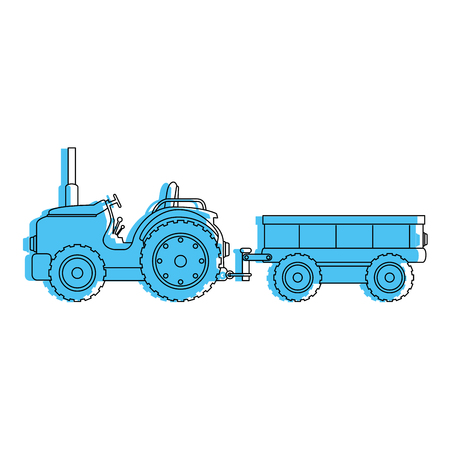 Tractor de granja con diseño del ejemplo del vector del carro Foto de archivo - 84983403