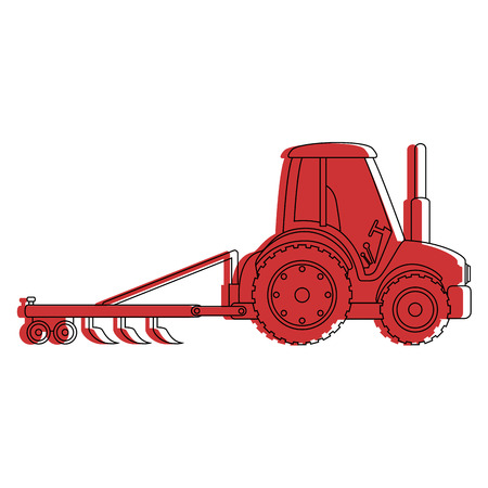 Farm tractor with rake vector illustration design Ilustrace