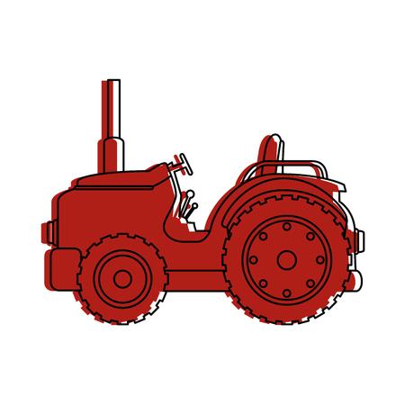 농장 트랙터 격리 된 아이콘 벡터 일러스트 디자인