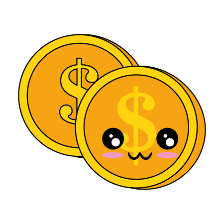Cute cartoon character of coins money. Illustration