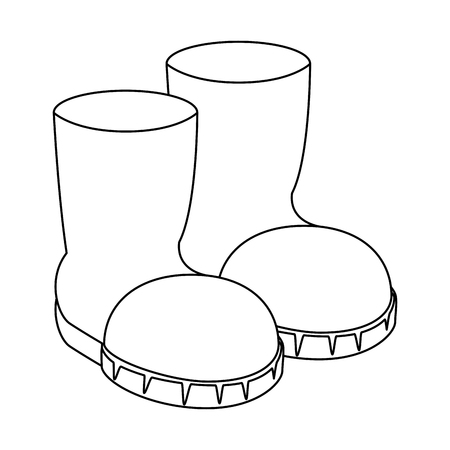 Uncolored boots illustration. Illustration