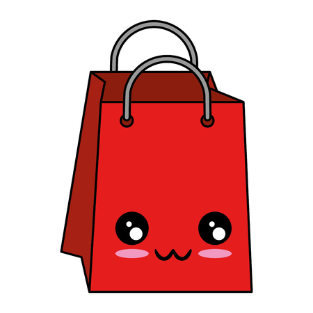Cute character illustration of shopping bag.
