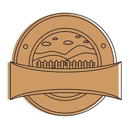 Wooden fence seal stamp illustration design. Illustration