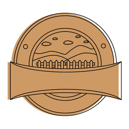 Wooden fence seal stamp illustration design. 向量圖像