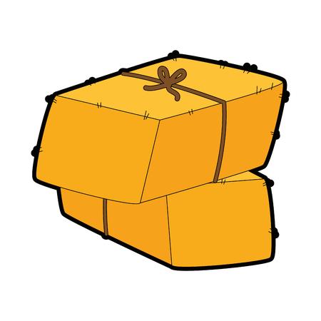 Gekleurde cartoon illustratie van Balen hooi pictogram. Stock Illustratie