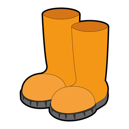 Colored cartoon illustration of boots. Ilustração