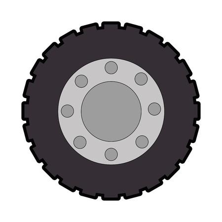 トラクタータイヤ分離アイコンイラストデザイン