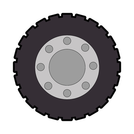 racing sign: Tractor tire isolated icon illustration design