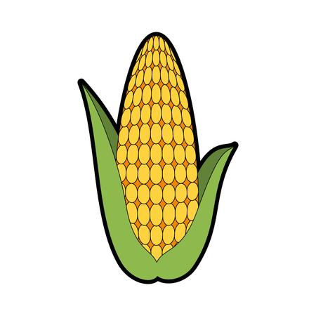 新鮮なトウモロコシの穂アイコンの色付きの漫画のイラスト