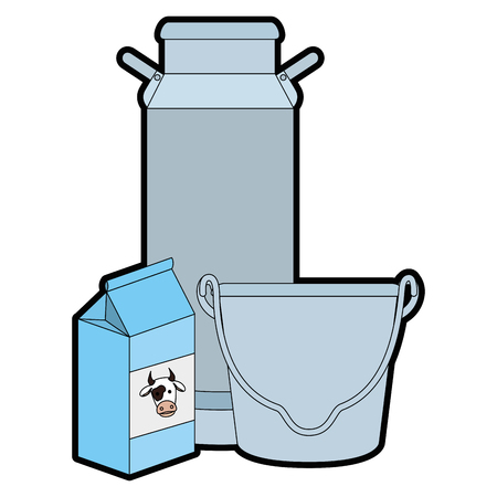 Colored cartoon illustration of cows milk set packing