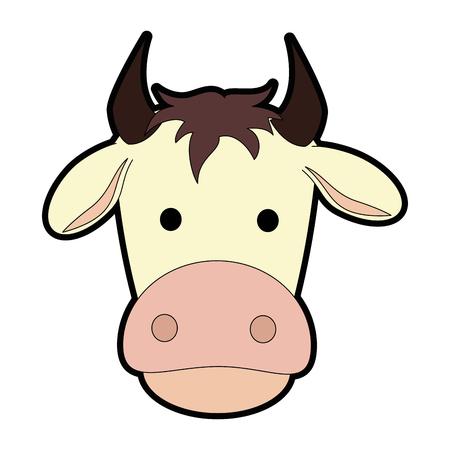 牛の色付きの漫画のイラスト。  イラスト・ベクター素材