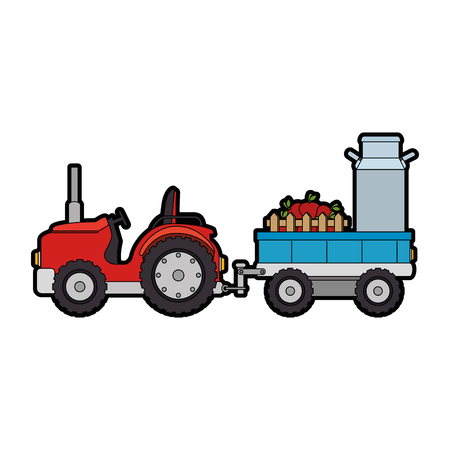 Ranch tractor with carriage icon.