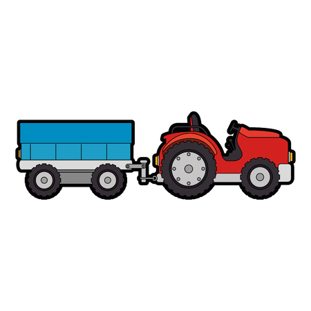 Colored cartoon tractor illustration. Ilustração