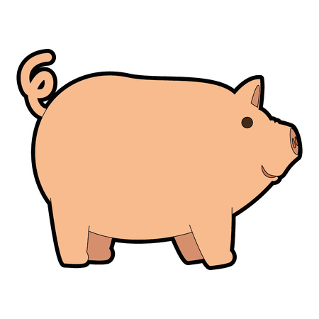 Colored cartoon pig illustration.