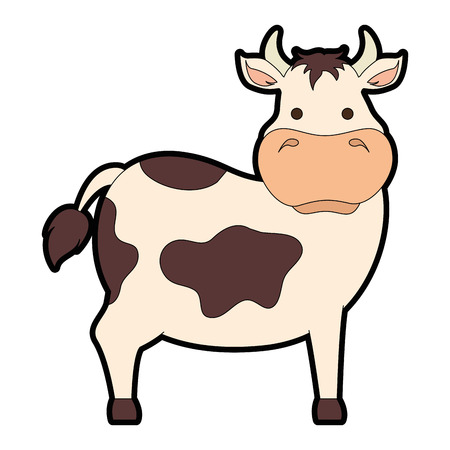Colored cartoon cow illustration.