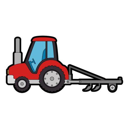 トラクターの色の漫画イラスト
