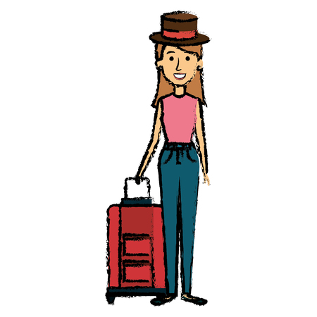 Hermosa chica con maleta y sombrero icono. Foto de archivo - 85024133