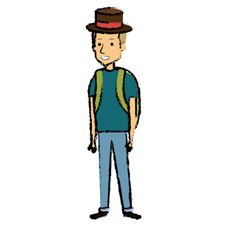 Young man with school bag and hat icon. Illustration