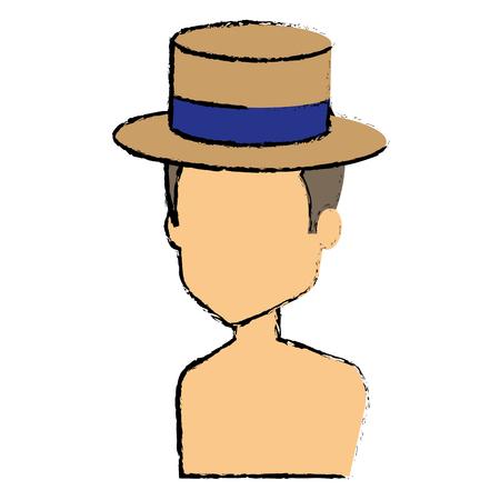 niño sin camisa: Joven con sombrero avatar.