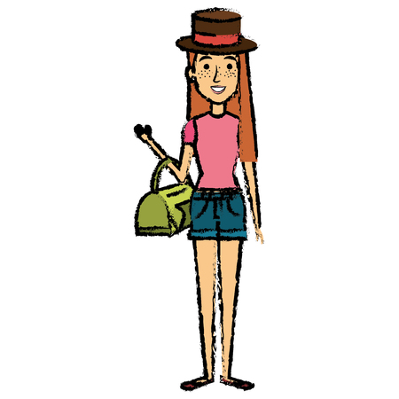 glamorous woman: Beautiful woman with bag and hat avatar. Illustration