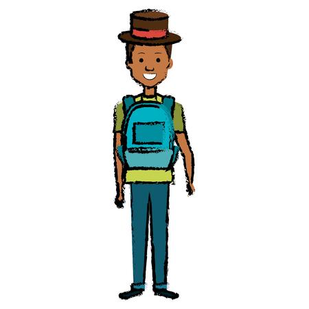 학교 가방 및 모자 아이콘을 가진 젊은 남자.