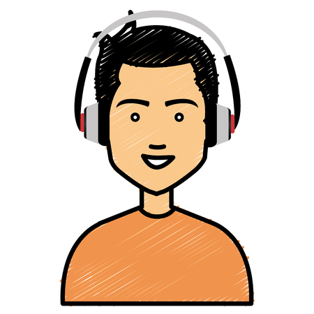 earphone: Cartoon character illustration of young man with earphones