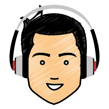 Cartoon character illustration of young man head with earphones.