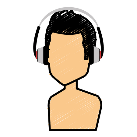 Young man with earphones avatar. Stock Vector - 85024238